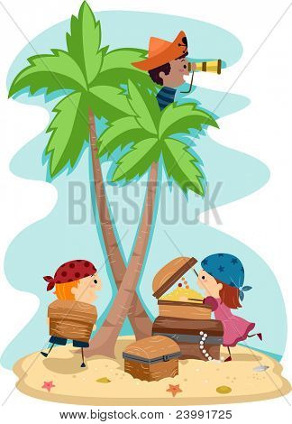 Illustration of Kids Dressed Up as Pirates