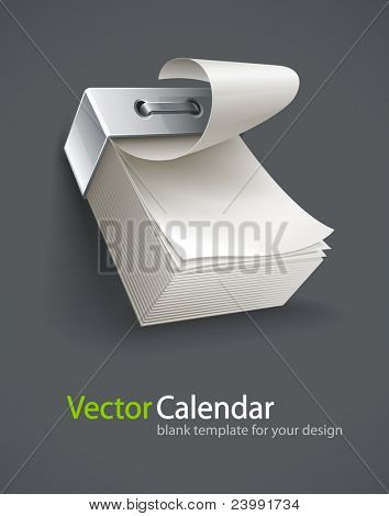 blank tear-off paper calendar vector illustration