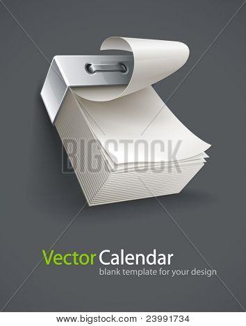 blank tear-off paper calendar vector illustration