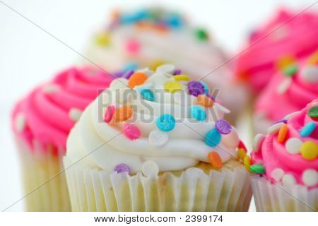 Close up of cupcakes on a white