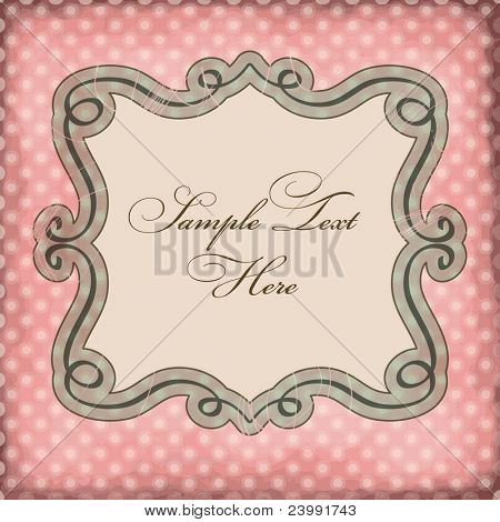 Vector frame on polka dots background