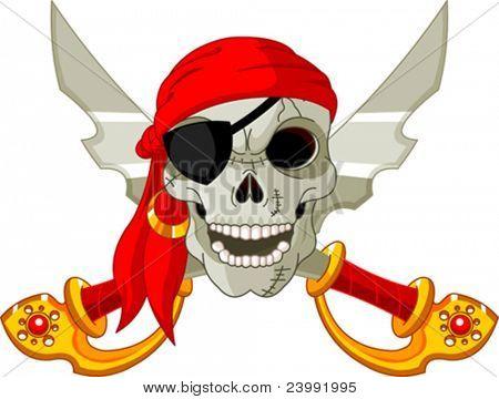 Pirata caveira e cruzados sables