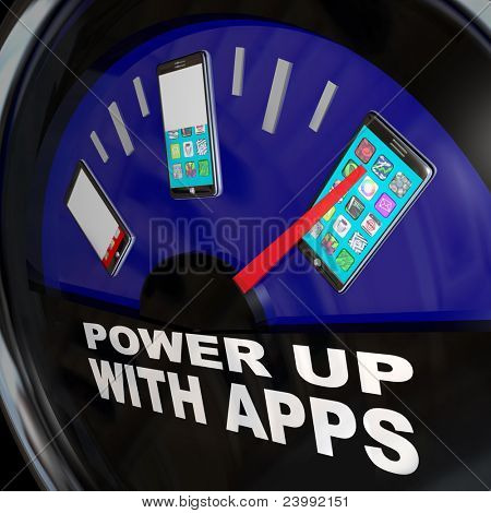 A fuel gauge with needle pointing to a smart phone with a touch screen full of apps
