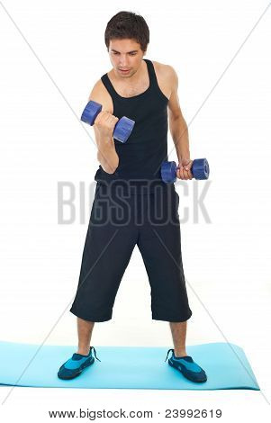 Man Working With Dumbbell