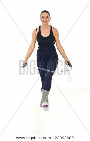 Woman Jumping With Jump Rope