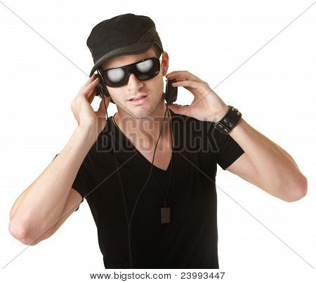 Man Wears Headphones