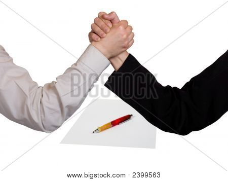 Two Wrestling Hands And Contract