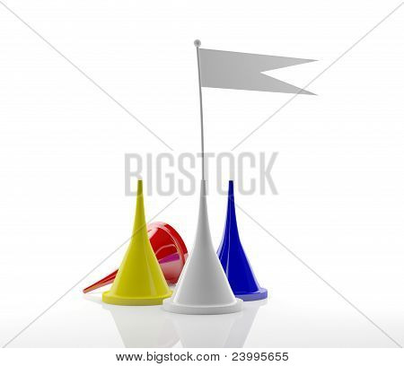 Colored board game figures with flag