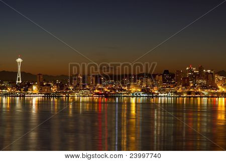 Seattle Downtown Skyline Reflection At Dawn