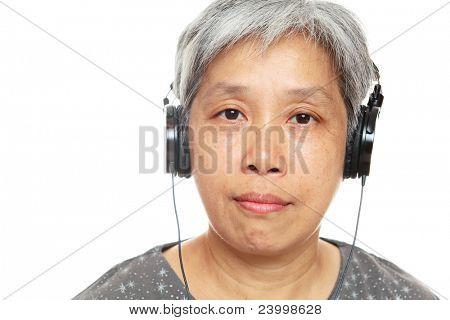 mature woman listen music