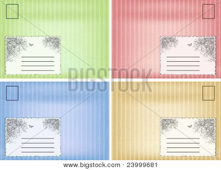 Set of vector vintage envelope.