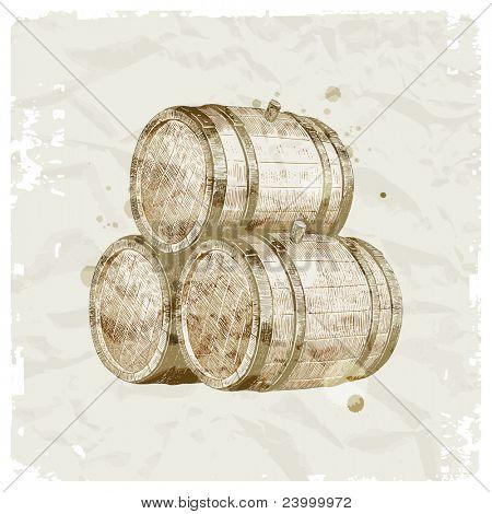 Grunge hand drawn wooden barrels on vintage paper background - vector illustration