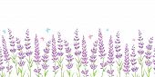 Lavender Flowers Frame Border Seamless Pattern. Beautiful Violet Lavender Flowers Retro Background A poster