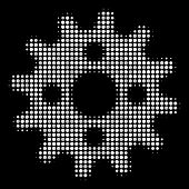 Cogwheel Halftone Vector Icon. Illustration Style Is Dotted Iconic Cogwheel Symbol On A Black Backgr poster