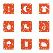 Physical Condition Icons Set. Grunge Set Of 9 Physical Condition Vector Icons For Web Isolated On Wh poster