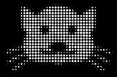Kitty Halftone Vector Icon. Illustration Style Is Pixelated Iconic Kitty Symbol On A Black Backgroun poster