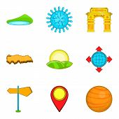 World Politic Icons Set. Cartoon Set Of 9 World Politic Vector Icons For Web Isolated On White Backg poster