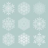 Set Of Snowflakes. Fine Winter Ornament. Snowflakes Collection. Snowflakes For Backgrounds And Desig poster
