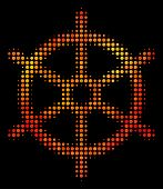 Pixelated Boat Steering Wheel Icon. Bright Pictogram In Fire Color Tints On A Black Background. Vect poster