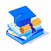 Square Graduation Cap With Scroll On A Pile Of Books. Academic Cap With Diploma And Books Isometric  poster