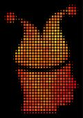 Dotted Joker Icon. Bright Pictogram In Hot Color Variations On A Black Background. Vector Halftone M poster