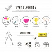 Event Agency Web Design Template. Thin Line Icons Of Special  Events. Business Event, Festival, Wedd poster