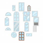 Window Design Types Icons Set. Cartoon Illustration Of 16 Window Design Types Vector Icons For Web poster