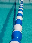 Swimming Pool Float Divider In Sparkling Blue Pool Water. Floats Set Up In Pool To Divide The Deep E poster