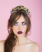 Emotional Queen With Crazy Face And Fashionable Makeup In Crown. Surprised Queen With Trendy Makeup. poster