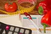 Vegetables, Tomato. Concept Of Weight Loss. Healthy Lifestyle Diet With Fresh Fruits. Diet Concept,  poster