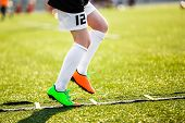 Boy Football Player On A Training With Ladder. Young Soccer Player At Training Session. Soccer Speed poster