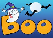 foto of wraith  - Ghost Wearing A Witch Hat In The Word BOO With Bats On Blue - JPG