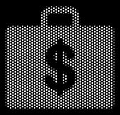 Dotted White Business Case Icon On A Black Background. Vector Halftone Concept Of Business Case Icon poster