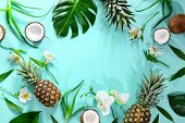 Summer Tropical Theme Background Or Template With A Space For A Text, Various Fruits, Green Leaves A poster