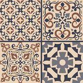 Vector Set Of Ornaments For Ceramic Tile. Portuguese Azulejos Decorative Patterns. Ornamental Square poster