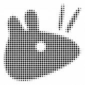 Dotted Black Mouse Head Icon. Vector Halftone Collage Of Mouse Head Icon Organized Of Round Pixels. poster
