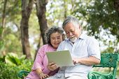 Senior People Using Laptop For Live Chat With Friend At Outdoor Park. Elder People Using Laptop With poster