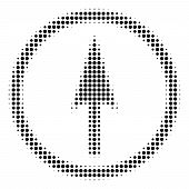Dotted Black Sharp Rounded Arrow Icon. Vector Halftone Mosaic Of Sharp Rounded Arrow Symbol Created  poster
