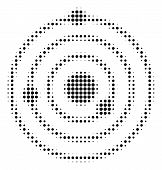Pixel Black Solar System Icon. Vector Halftone Pattern Of Solar System Icon Constructed With Circle  poster