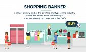Shopping Banner With Buy Button For Shopping Online. People Shopping In Supermarket And Buying Fashi poster