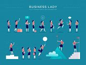 Vector Flat Illustration With Business Lady Office Characters & Metaphors Isolated On Blue Backgroun poster
