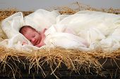stock photo of christmas baby  - The Christmas story with baby Jesus sleeping in manger - JPG