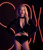 Fashion Art Photo Of Sexy Girl Dressed In Black In The Night-club. Perfect Female Body With Neon Let poster