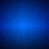 Abstract Stream Of Binary Matrix Code On Blue Screen.  Binary Computer Code. Programming  Coding  Co poster