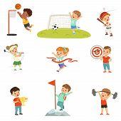Cute Little Children Playing Different Sports, Footbal, Soccer, Golf, Basketball, Baseball, Archery, poster