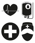 Black And White Blood Donation Silhouette Icon Set. Healthy Heart Cardiogram, Blood Bag, Medical Per poster