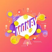 Trendy Money Poster, Banner Background Template With Golden Coins, Light Bulbs On Vibrant Gradient R poster