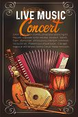 Live Music Concert Sketch Poster With Musical Instruments. Vector Design Of Musical Button Accordion poster