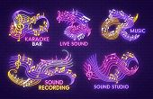 Music Note Neon Light Sign For Karaoke Bar, Sound Recording Studio Or Jazz Live Concert Template. Mu poster