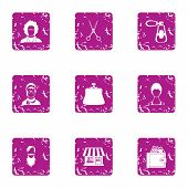 Coiffeur Icons Set. Grunge Set Of 9 Coiffeur Vector Icons For Web Isolated On White Background poster